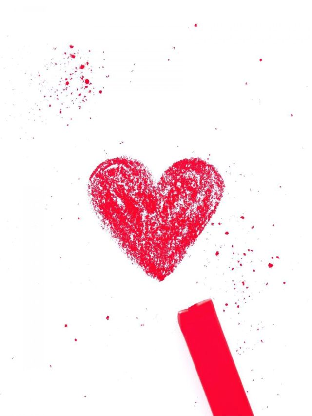 Heart shape made with red color