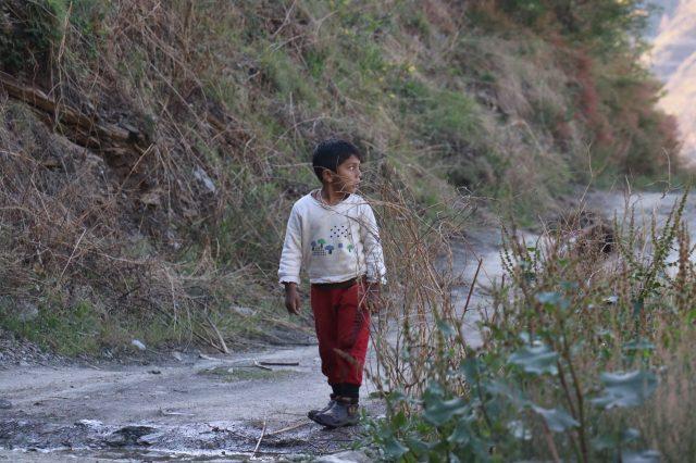 A kid on a path