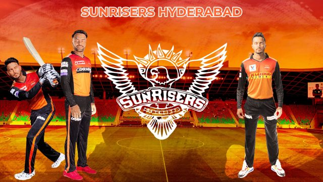 Illustration of Sunrisers Hyderabad logo and player