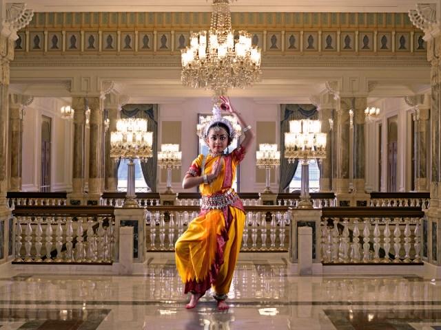 A female classical dancer in a palace