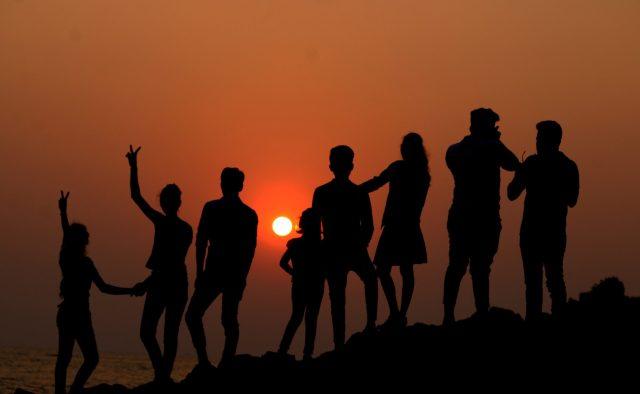 People enjoying during evening