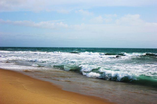 Sea waves reaching the beach