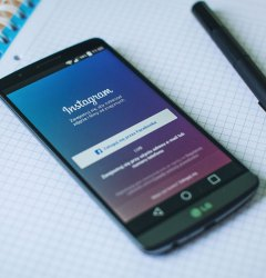 Phone displaying Instagram's login screen