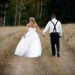 Farm Wedding Couple Walking