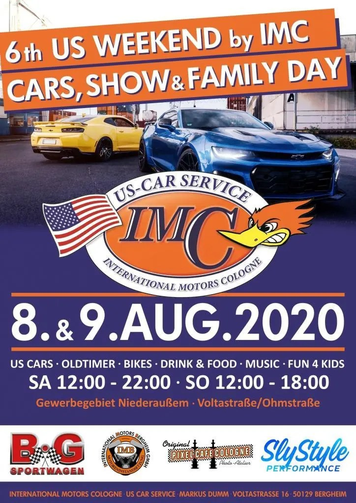 6th US WEEKEND by IMC - CARS, SHOW & FAMILY DAY, us car treffen, imc, imb, pixel cafe cologne, ford, chevrolet, mustang, camaro, dodge, charger, challenger, firebird, us car werkstatt,