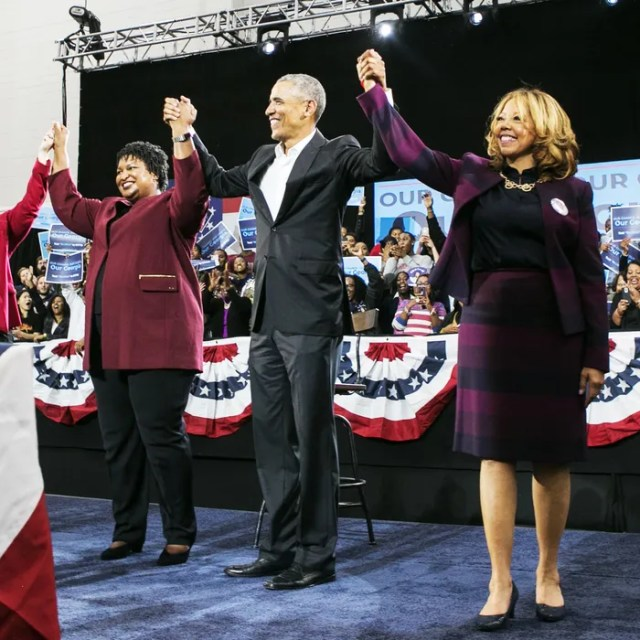 Lucy McBath with former President Barack Obama and Georgia gubernatorial candidate Stacey Abrams.