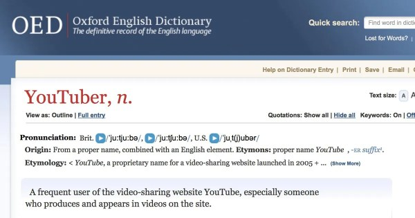 'Oxford English Dictionary' Adds Wrong 'YouTuber' Definition