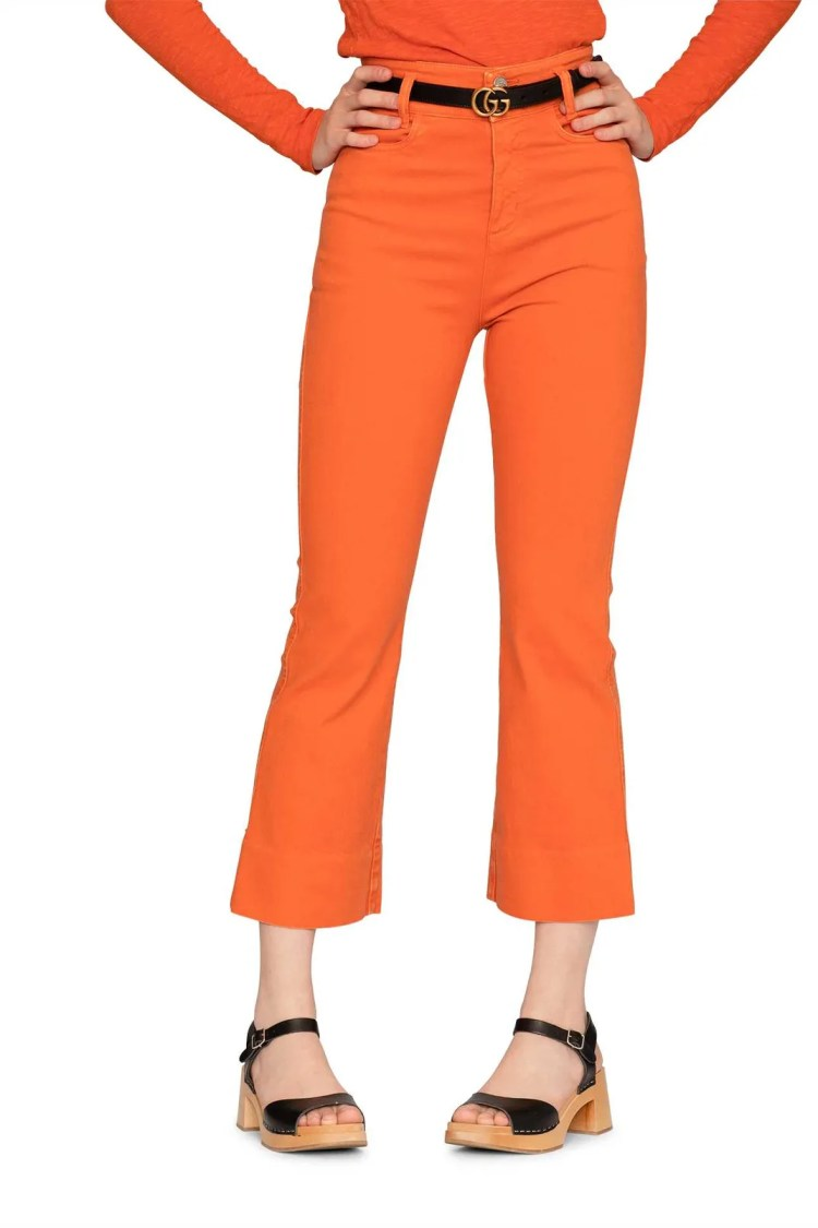 Swedish Hasbeens Short Boot Cut Denim Pants, Orange