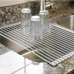 Kitchen Dish Drying Mat Italian Bistro Decorating Ideas Best Racks Drainers On Amazon Surpahs Over The Sink Multipurpose Roll Up Rack Warm Gray Large