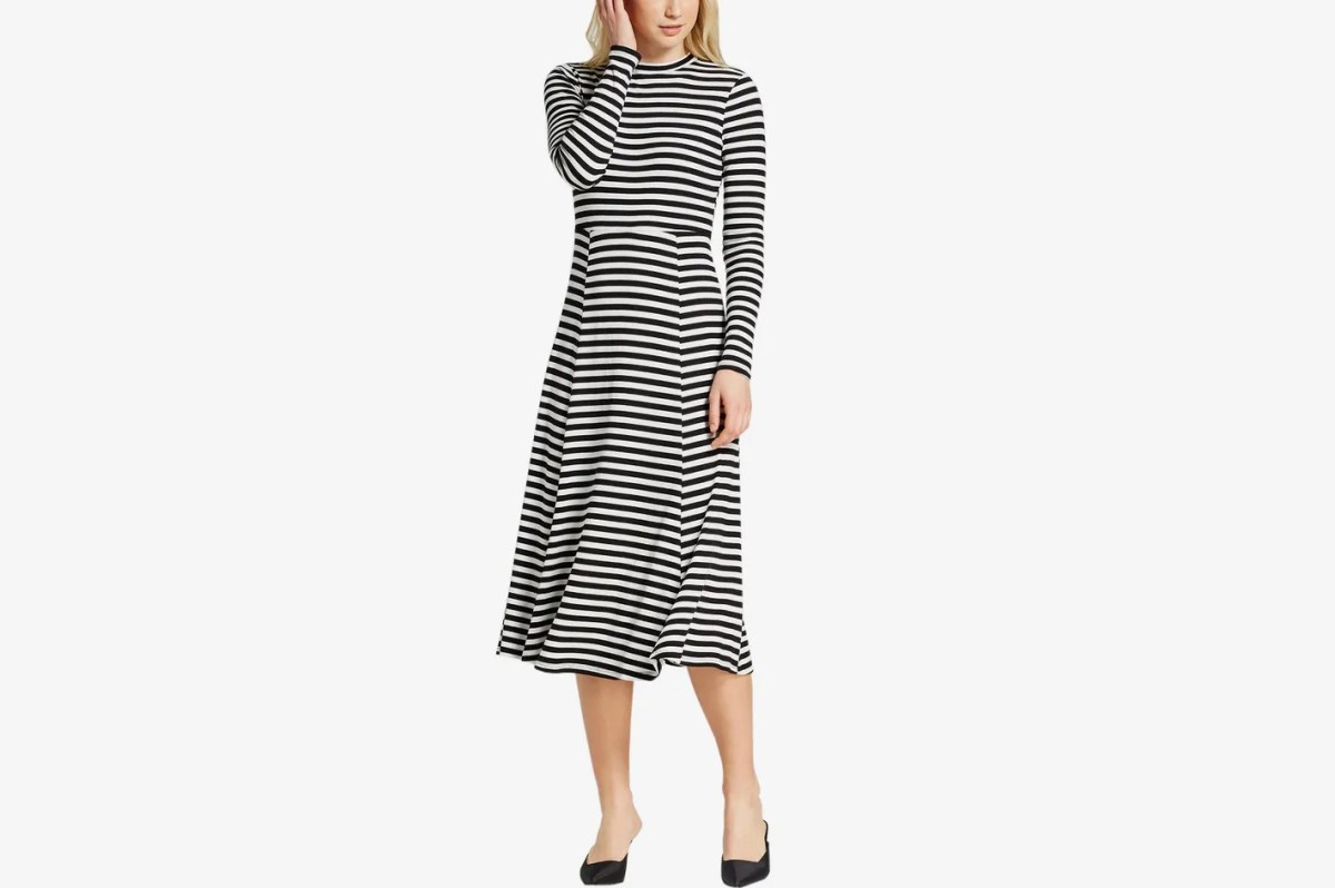 Women's Long Sleeve Rib Midi Dress
