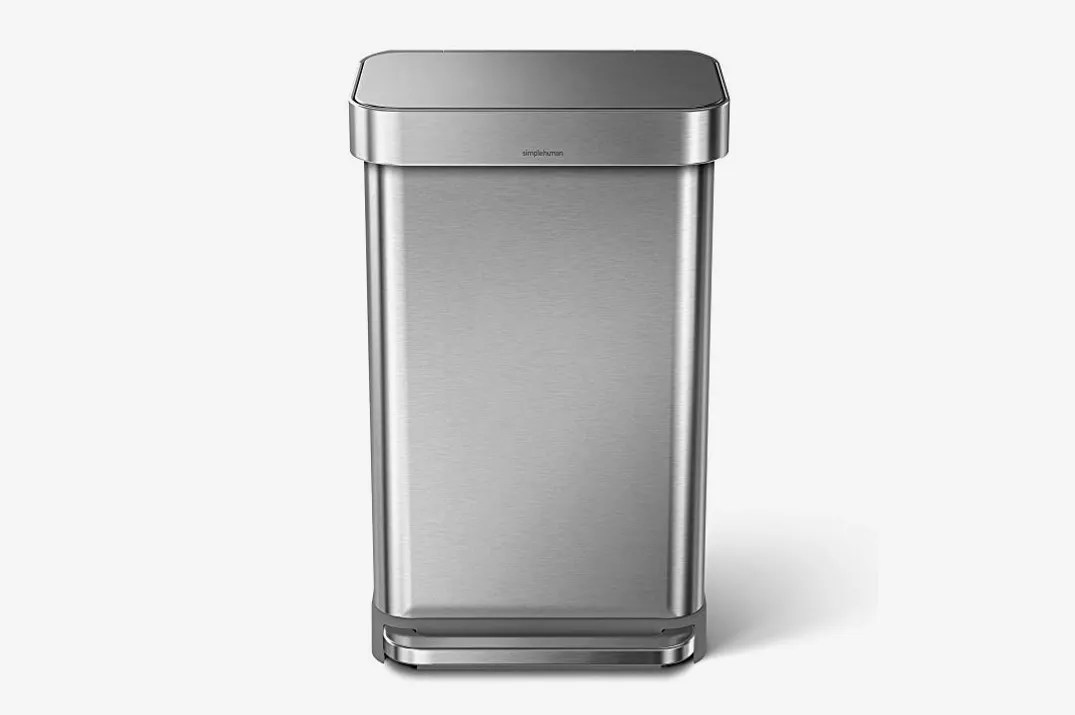 stainless steel kitchen trash can amazon cart 9 best cans 2018 simplehuman 45 liter 12 gallon rectangular step with liner pocket