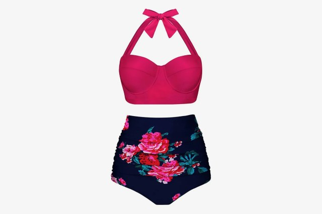 Aixy Women Vintage Swimsuits Bikinis Bathing Suits Retro Halter Underwired Top