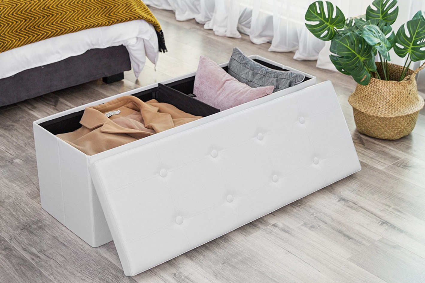 storage bench living room best sofa for the 15 benches 2018 songmics 43 faux leather folding ottoman