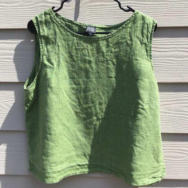 Eileen Fisher Green 100% Irish Linen Sleeveless Blouse
