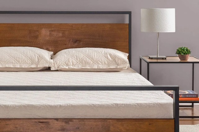 Zinus Ironline Metal and Wood Platform Bed with Headboard and Footboard - Queen
