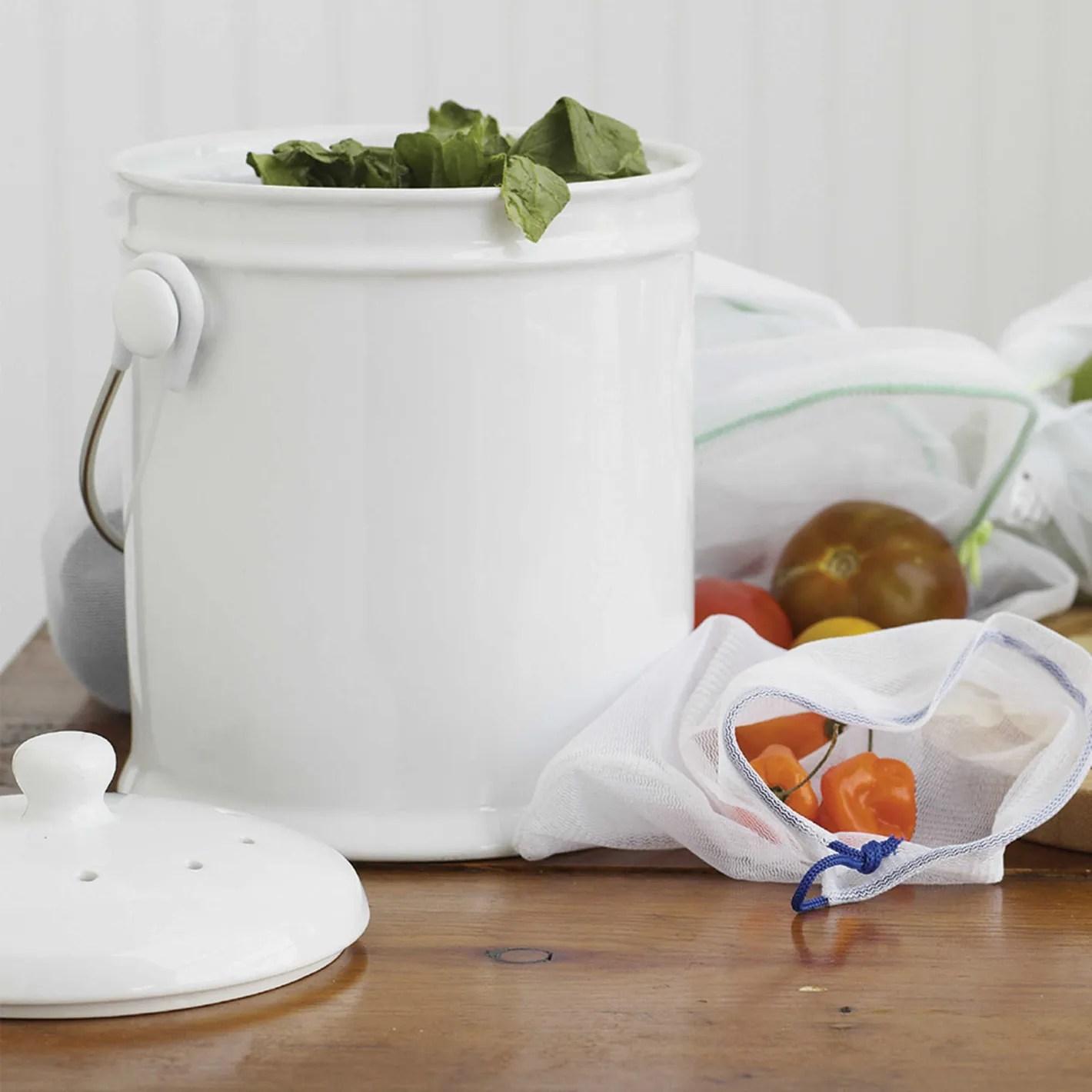 compost bin for kitchen mason jar lights 13 stylish bins your small 2018 natural home 1 gallon ceramic in white