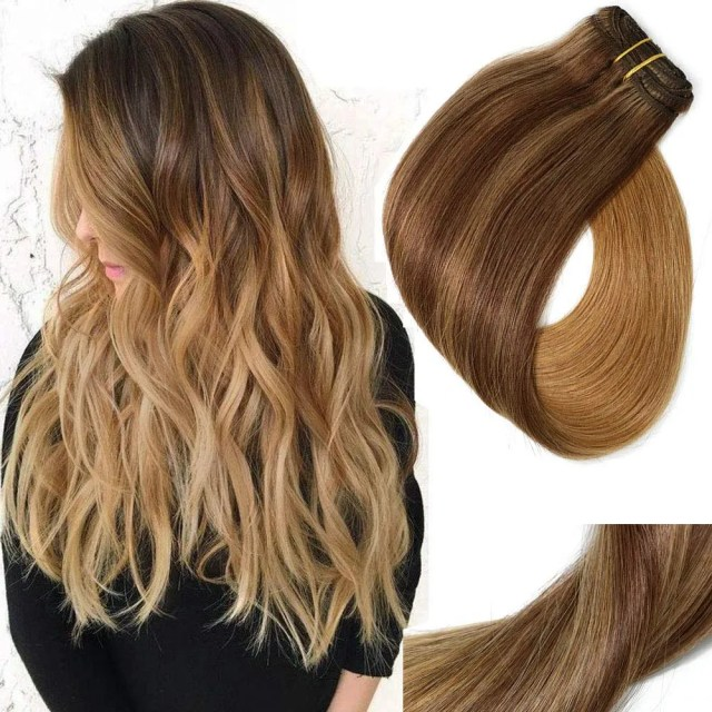 """VARIO Clip In Hair Extensions Double Weft Brazilian Hair, 18"""", 120g, 7pcs"""