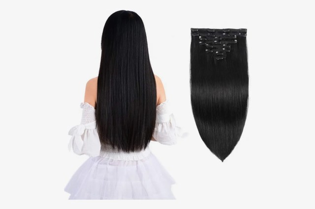 """Inmany Remy Clip in Hair Extensions, Natural Black, 18"""", 100g, 8pcs"""