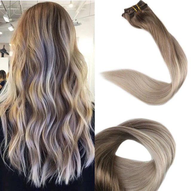 """Full Shine Remy Clip in Hair Extensions Ombre Balyage Color, 14"""", 100g 10 Pcs"""