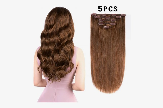 """Amygirl Remy Clip in Hair Extensions Human Hair, Light Brown, 16"""", 80grams, 5 Pieces"""