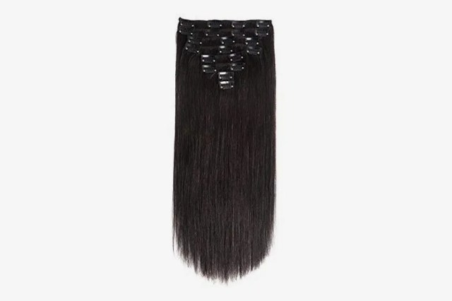"""Lovbite Hair Clip In Human Hair Extensions Double Weft Natural Black, 24"""", 120g, 8 Pieces"""