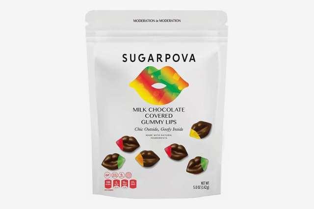 Sugarpova Milk Chocolate Covered Gummi Lips - 6 Count Case