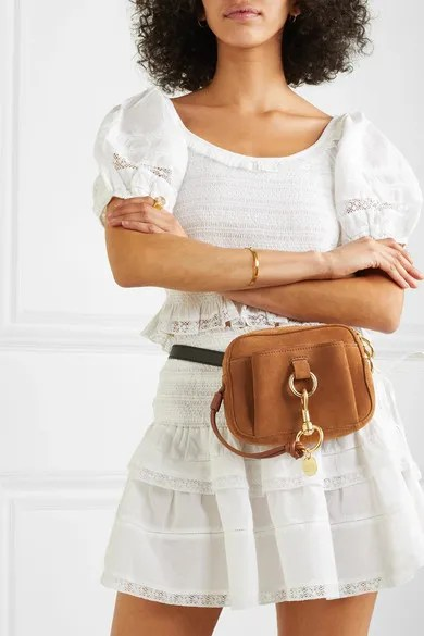 SEE by Chloé Tony Textured-Leather and Suede Belt Bag