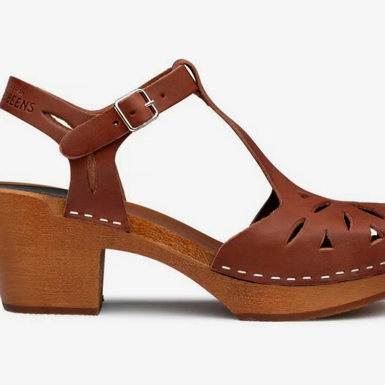 Swedish Hasbeens Lacy Sandal, Cognac