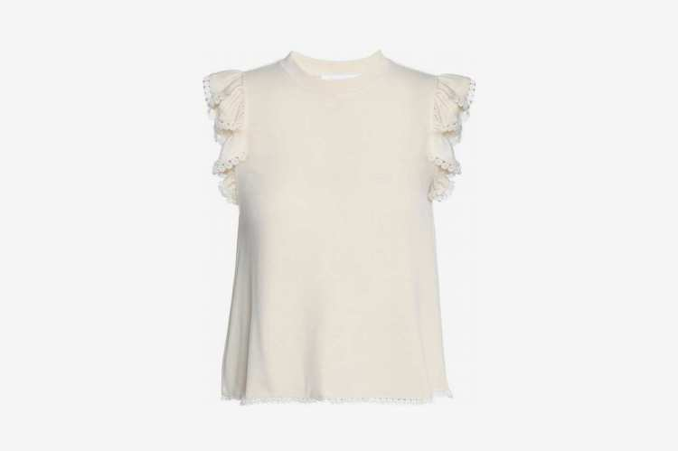 See by Chloe Crochet-Trimmed Ruffled Jersey Top