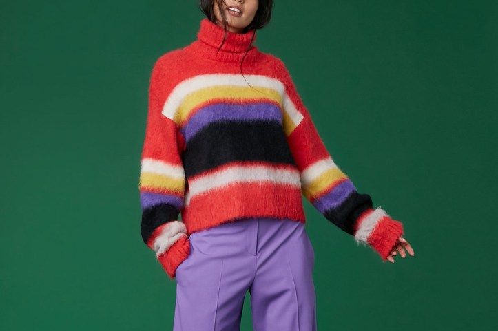 Diane von Furstenberg Long Sleeve Chunky Striped Turtleneck Sweater