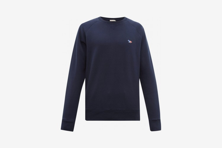 Maison Kitsuné Tricolor Fox-appliqué Cotton Sweatshirt