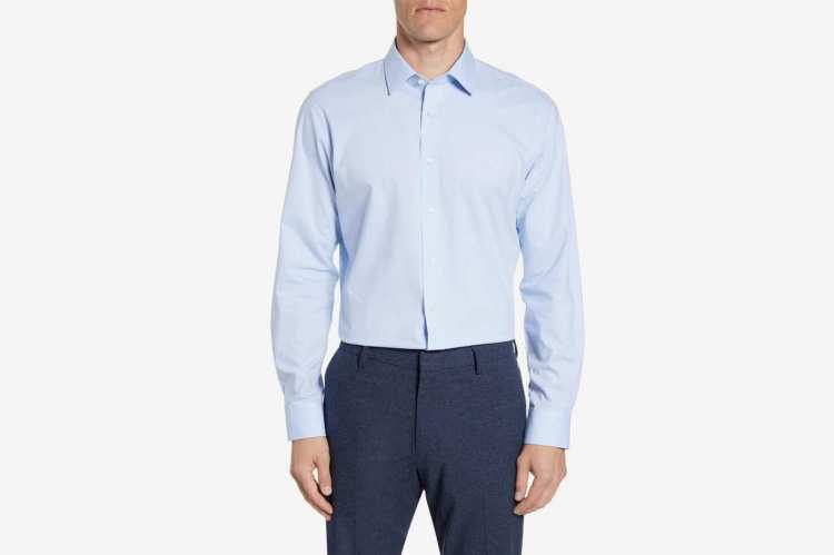 Nordstrom Men's Shop Tech-Smart Trim-Fit Pinpoint Dress Shirt
