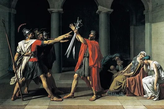 Jacques-Louis David (30 August 1748 - 29 December 1825) was a highly influential French painter in the Neoclassical style, The Oath of the Horatii 1784-5