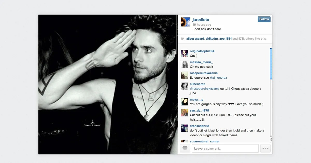 Instagram Theory Will Leto Cut Off His Hair The Cut
