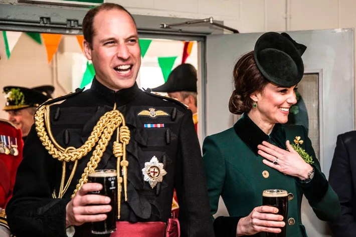 Prince William and Kate Middleton drink beer.