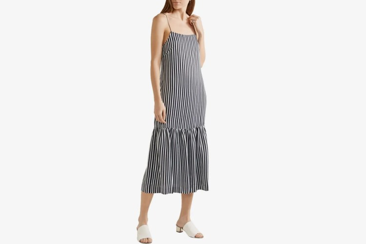 Elizabeth And James Jewel striped satin and crepe midi dress