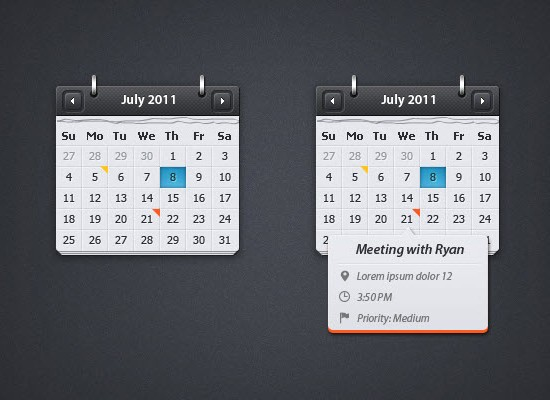 Calendar with Event Preview PSD