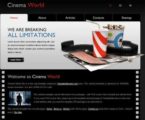 Free Cinema Website Template – A New Monday Freebie