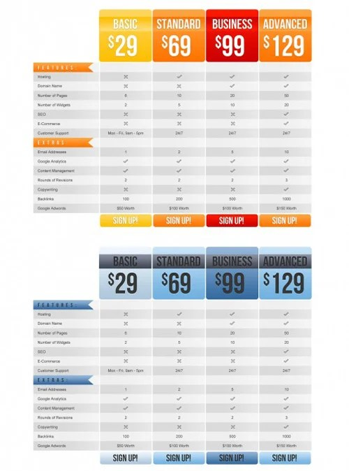 Free Colourful/Corporate Resizable Price Tables for Photoshop