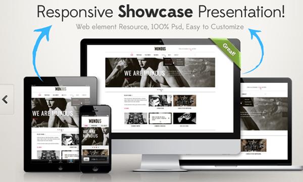responsive showcase psd website freebie design
