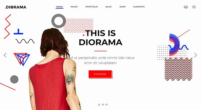 Diorama - WordPress themes with big fonts