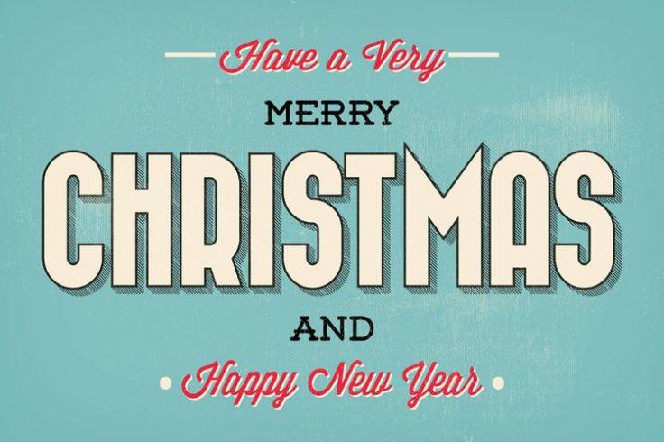 Merry Christmas Typographic Christmas Greeting Illustration free holidays