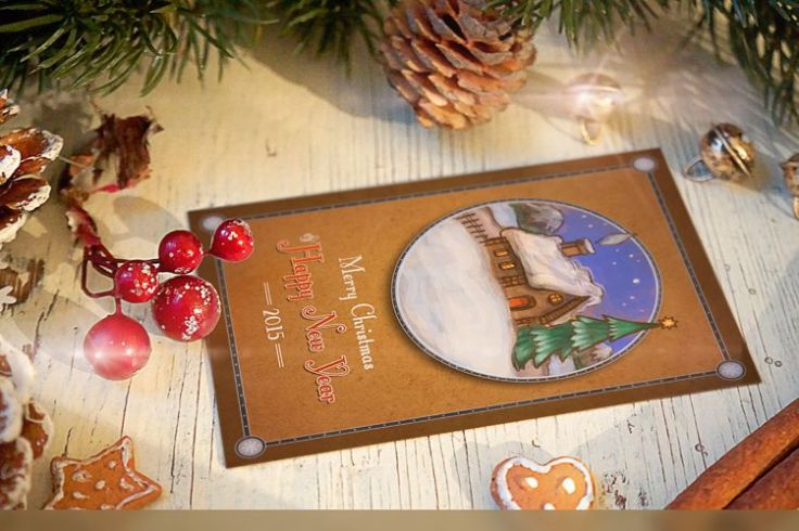 Hand-Drawn Retro Christmas Postcard free holidays