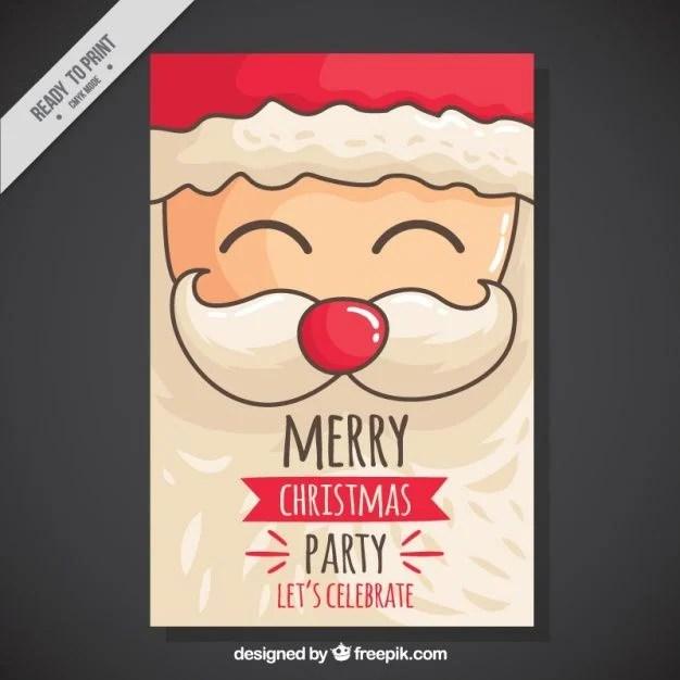 Christmas Party Invitation with Hand-drawn Santa Vector free holidays