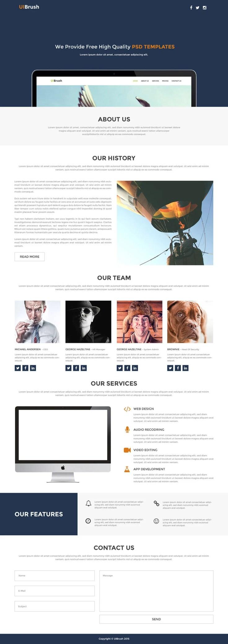 Free Single Page Web Template