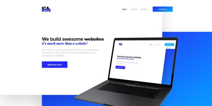 Icarus Agency One Page Web Template PSD