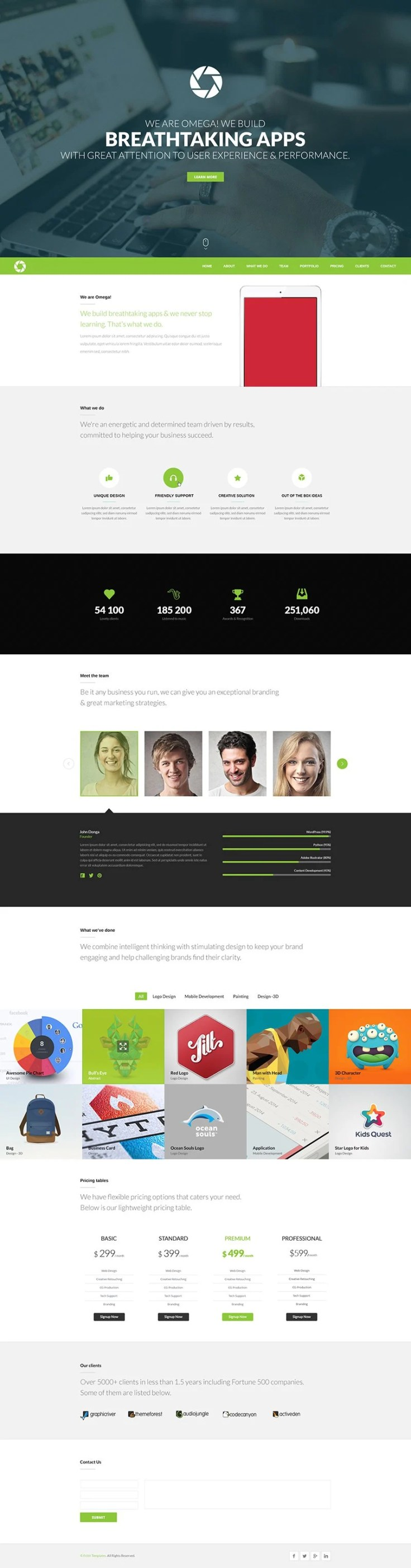 Omega - Free One Page Website Template PSD