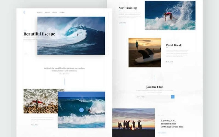 Surfing Free PSD Template