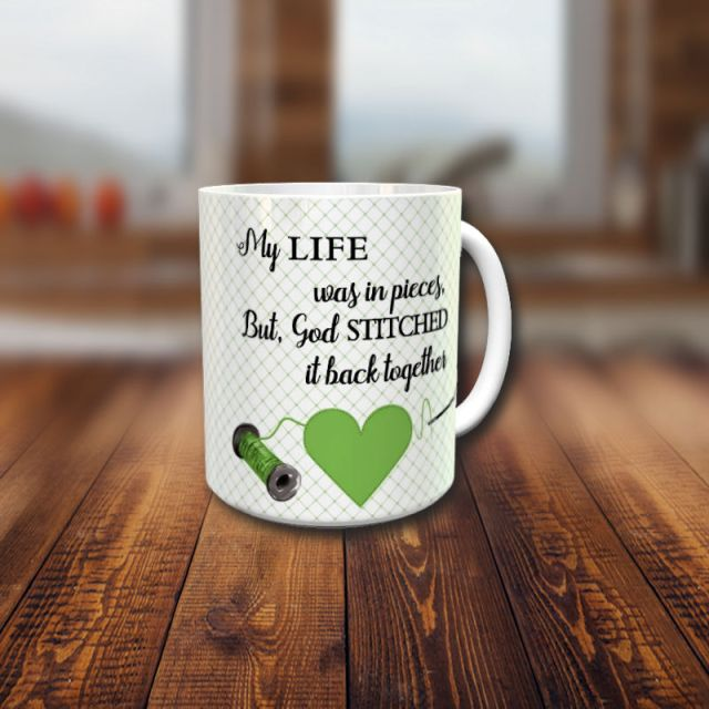 Life stitched back together with God mug front
