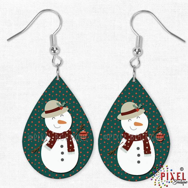 Snowman on Green Bkgrd earrings